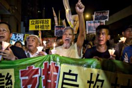 Гонконг: акция в поддержку протестов в китайской деревне
