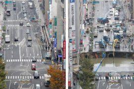 Огромный провал в земле в Японии заделали за неделю