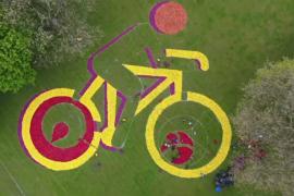 Гигантский велосипедист из тюльпанов украсил парк в Познани