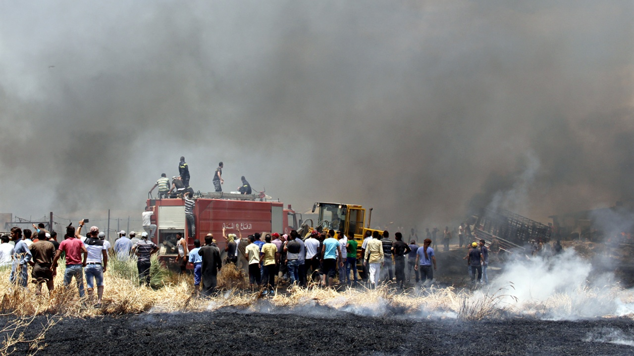 Пожар уничтожил лагерь сирийских беженцев в Ливане