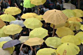 Гонконгцы отметили три года «революции зонтиков» новым протестом