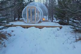 Прозрачный отель-купол в Исландии: зимний пейзаж и Северное сияние