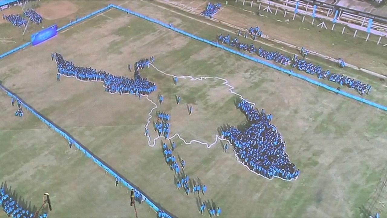 Почти 3500 человек сформировали карту Мьянмы ради рекорда Гиннесса