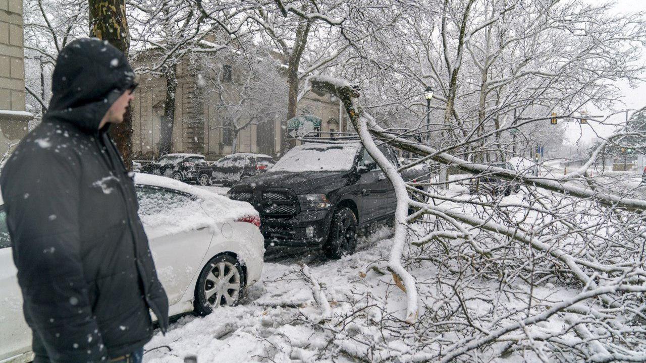 Снежный шторм в Нью-Йорке привёл к отмене авиарейсов и обрыву электропроводов