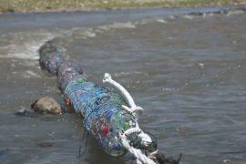 На одной из рек Гватемалы мусор «ловят» с помощью биозаграждений