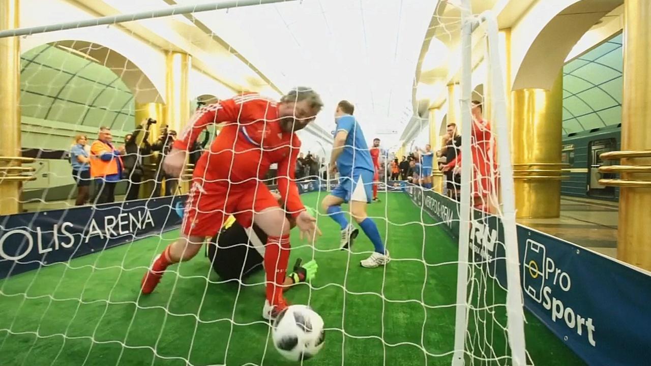 Футбол в метро: в Петербурге провели матч в преддверии Кубка мира