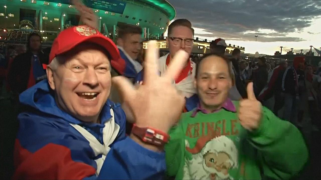 ЧМ-2018: российские болельщики радуются после победы над Египтом