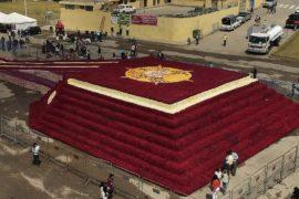 Пирамиду из 500 тысяч роз создали в Эквадоре ради рекорда Гиннесса