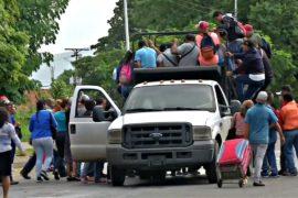 Венесуэльцев вместо автобусов перевозят скотовозки