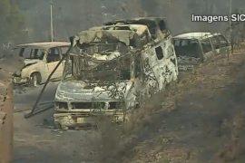 Лесные пожары в Португалии жгут дома и машины