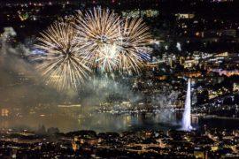 Грандиозный фестиваль фейерверков прошёл в Женеве