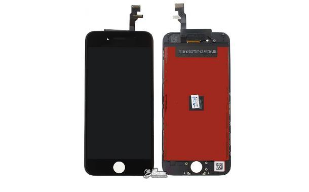 Дисплей iPhone 6, черный, с рамкой, с сенсорным экраном (дисплейный модуль), copy