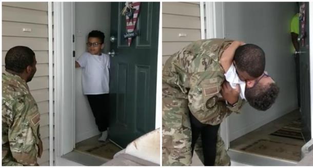 Отец встал на колени перед встречей с сыном