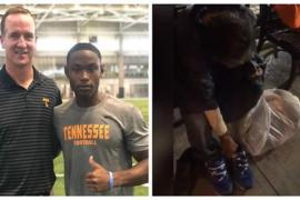 Футболист отдал обувь бродяге