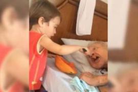 Мать сняла, как малыш кормит дедушку с ложки