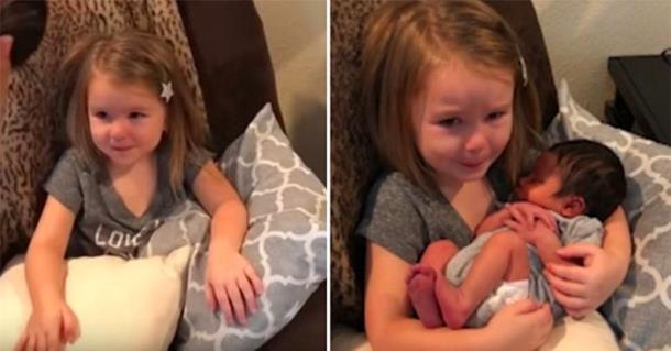 Девочка первый раз видит брата и не может сдержать эмоций