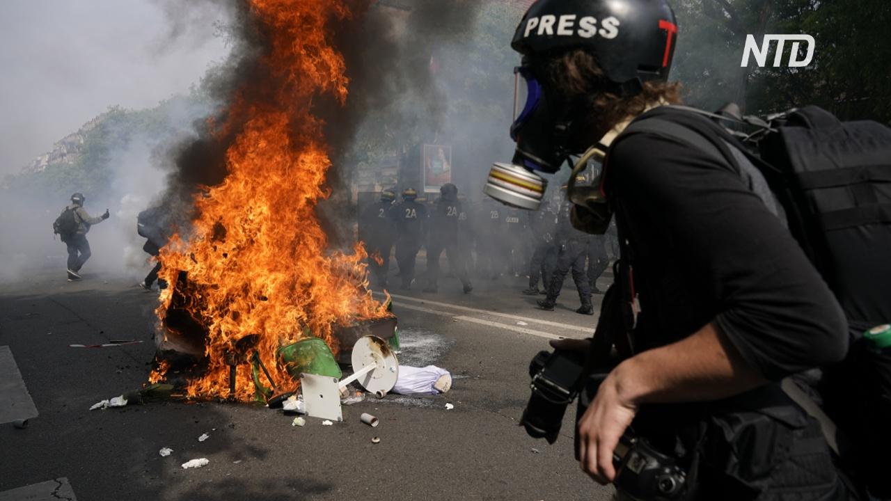 Первомайский протест в Париже: погромы и стычки с полицией