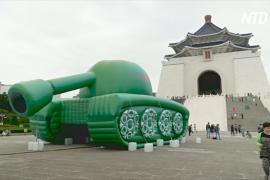 Инсталляция в виде неизвестного бунтаря появилась в центре Тайваня