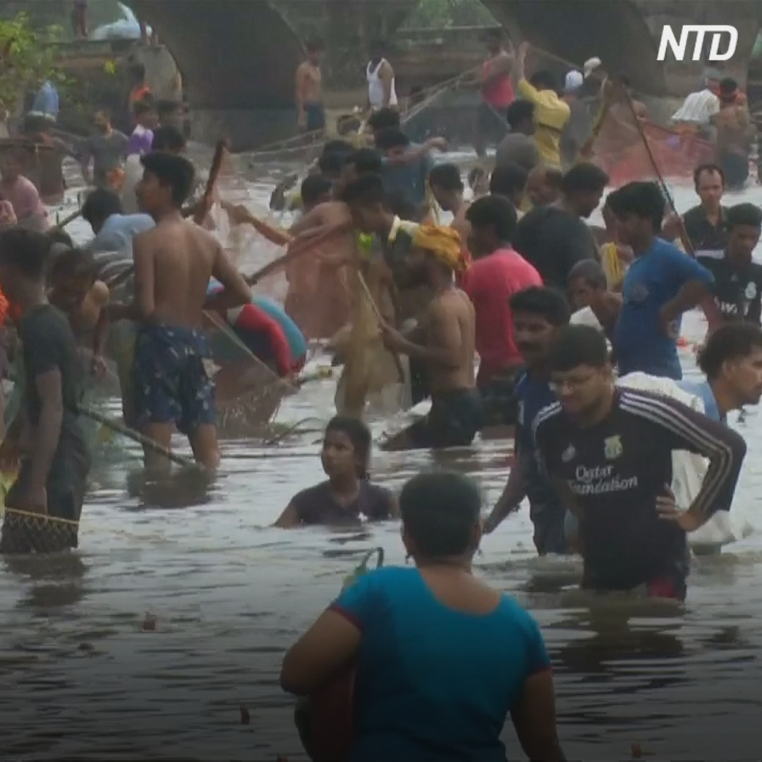 Фестиваль рыбной ловли в Индии: ныряли и взрослые, и дети