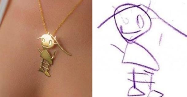 Как выглядят украшения, сделанные по детским рисункам
