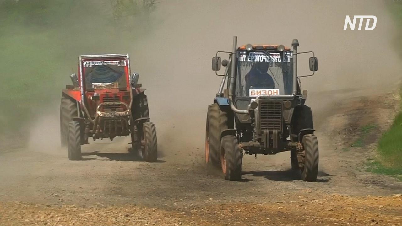 Гонка на тракторах по бездорожью прошла в России