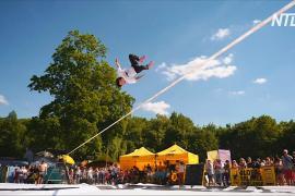 В Германии прошли захватывающие дух состязания по слэклайну