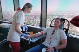 Останкинская башня: акция в преддверии Всемирного дня донора крови