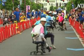 Гонки на офисных стульях устроили в Японии