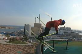 Датский лыжник показал трюки на единственной «горе» Копенгагена