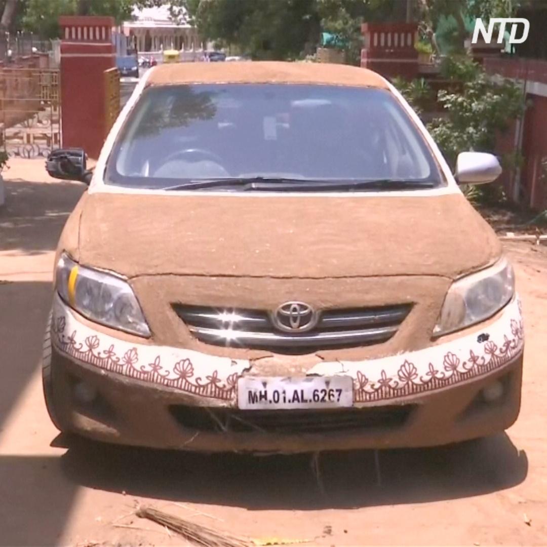 Зачем индианка обмазала свою машину коровьим навозом