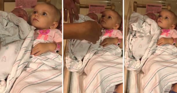 Маленькая девочка не даёт забрать у неё новорождённую сестру