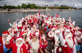 Дух Рождества летом: Санты съехались на конгресс в Копенгагене
