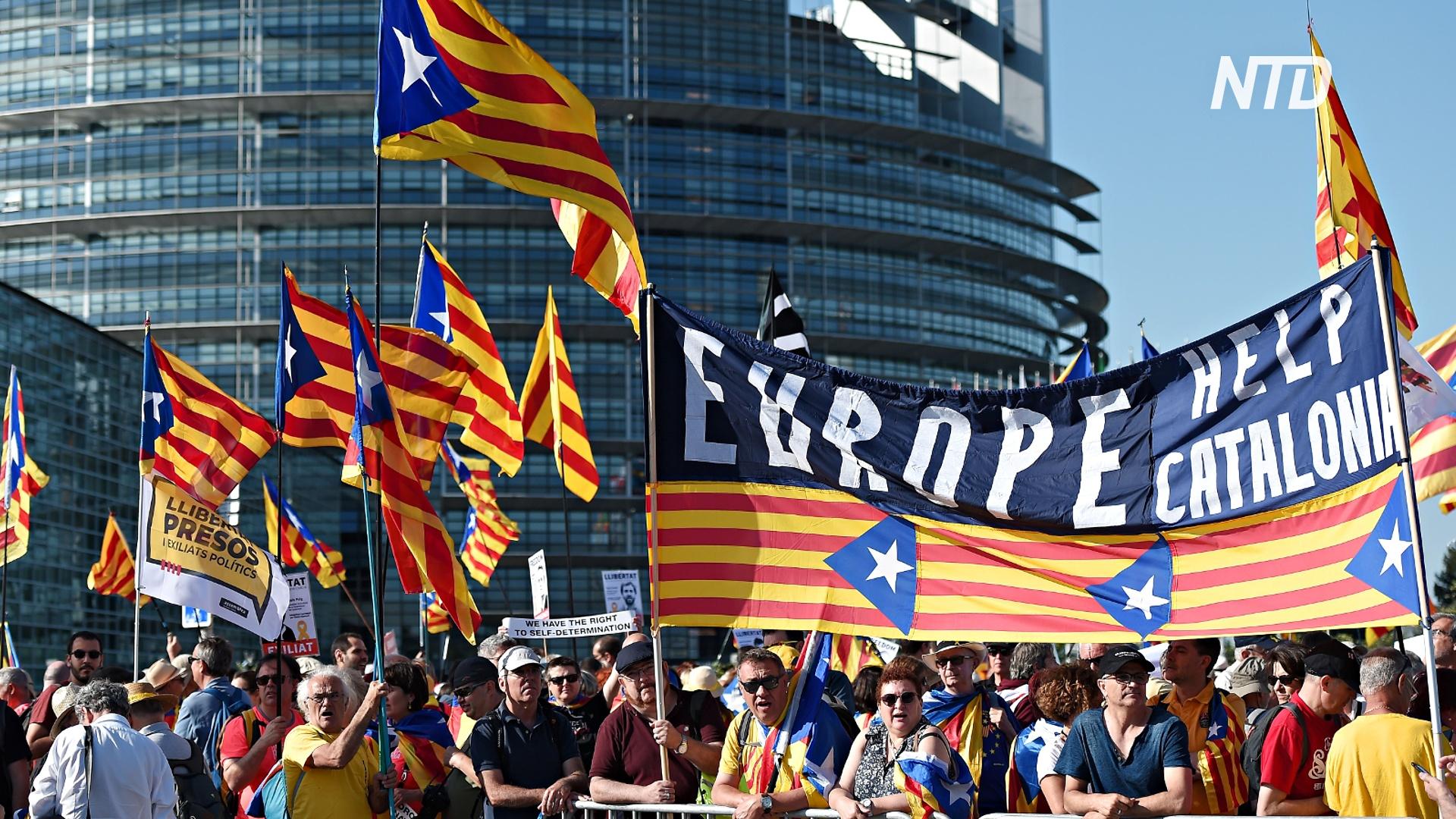 Каталонцы протестуют у Европарламента в поддержку евродепутата Пучдемона