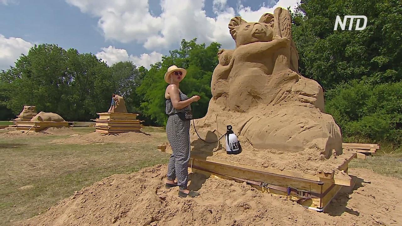 Исчезающих животных изобразили в Польше с помощью песка