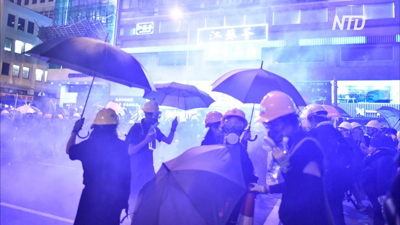 Ночь протестов в Гонконге: резиновые пули и слезоточивый газ
