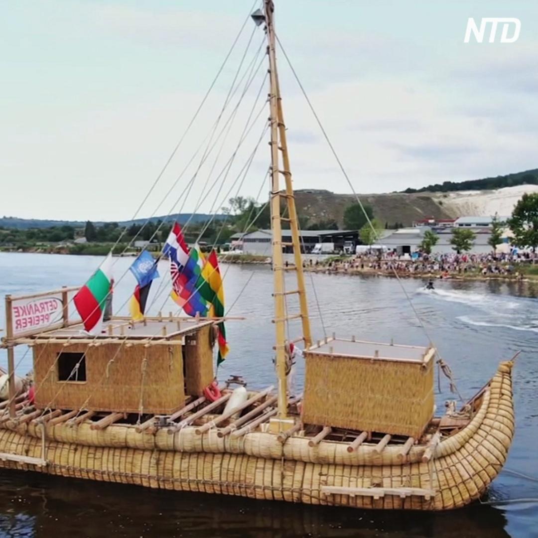 Тростниковое судно проплывёт по древнему морскому пути