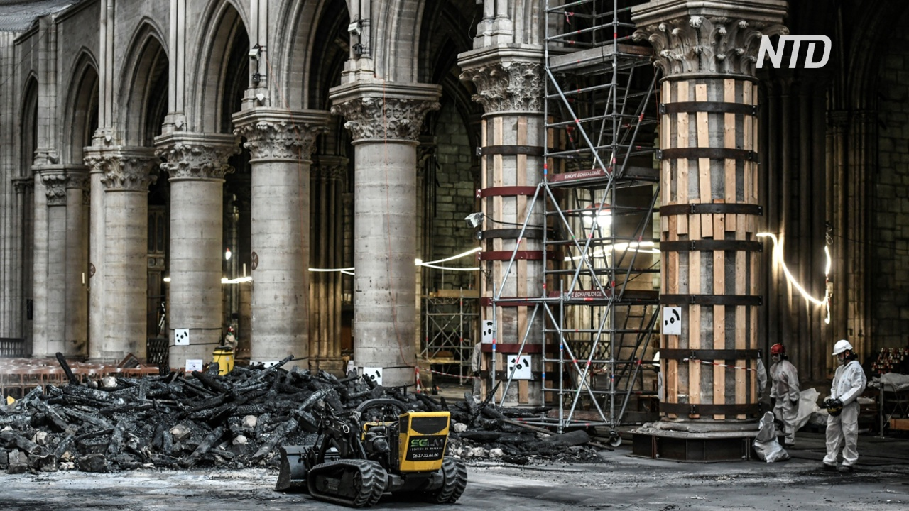 В соборе Парижской Богоматери возобновились ремонтные работы