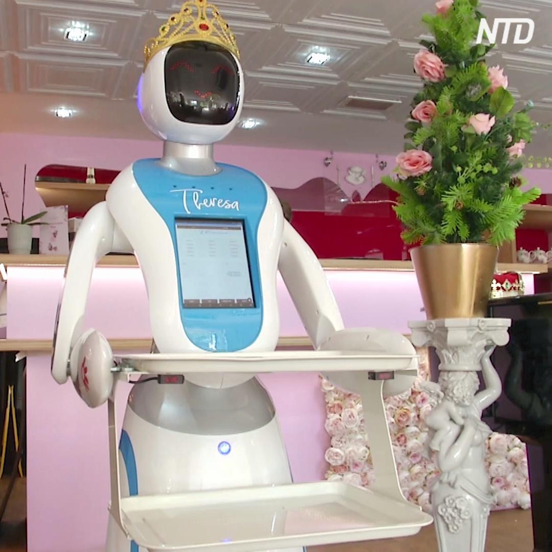 Робот-официант пародирует Терезу Мэй
