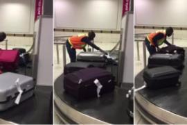 Пассажирку в аэропорту потрясло отношение грузчика к работе