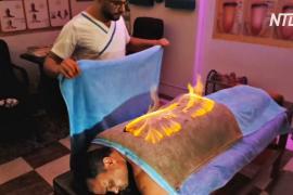 Огненный массаж: необычную процедуру проводят в Египте