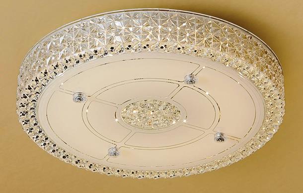 Люстра потолочная светодиодная с диммером Citilux Кристалино CL705121 Белый + Прозрачный