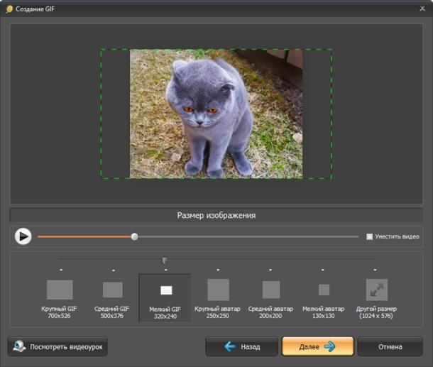 Настройка параметров будущей GIF-картинки
