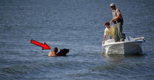 Мужчина спас тонущего медведя