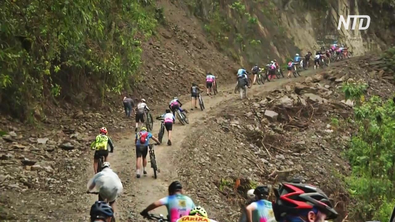70-летняя боливийка покорила на велосипеде «дорогу смерти»