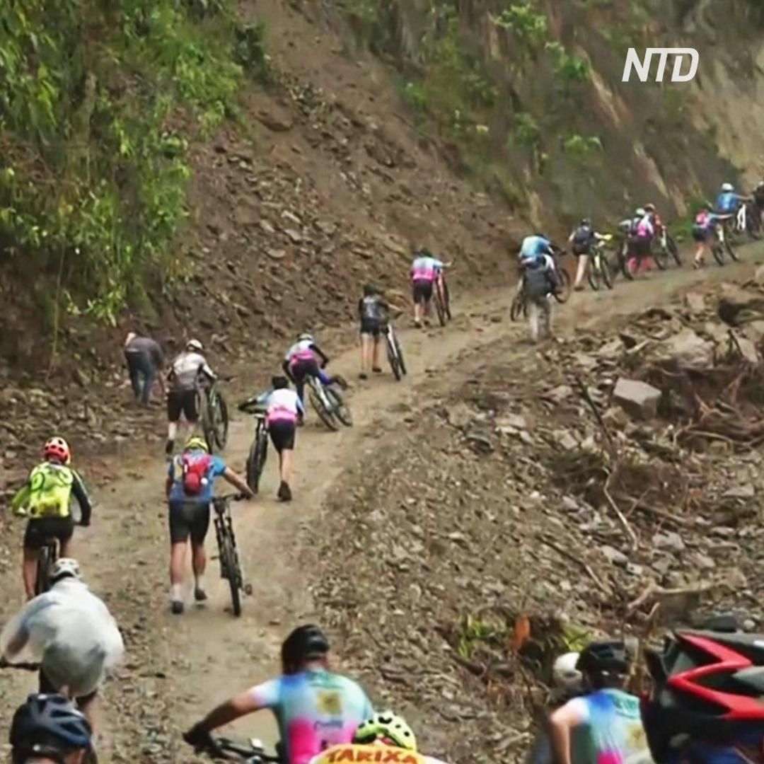70-летняя боливийка проехала на велосипеде «дорогу смерти»