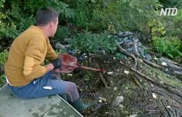 Венгерский волонтёр ушёл с работы, чтобы убирать мусор на реке Тиса