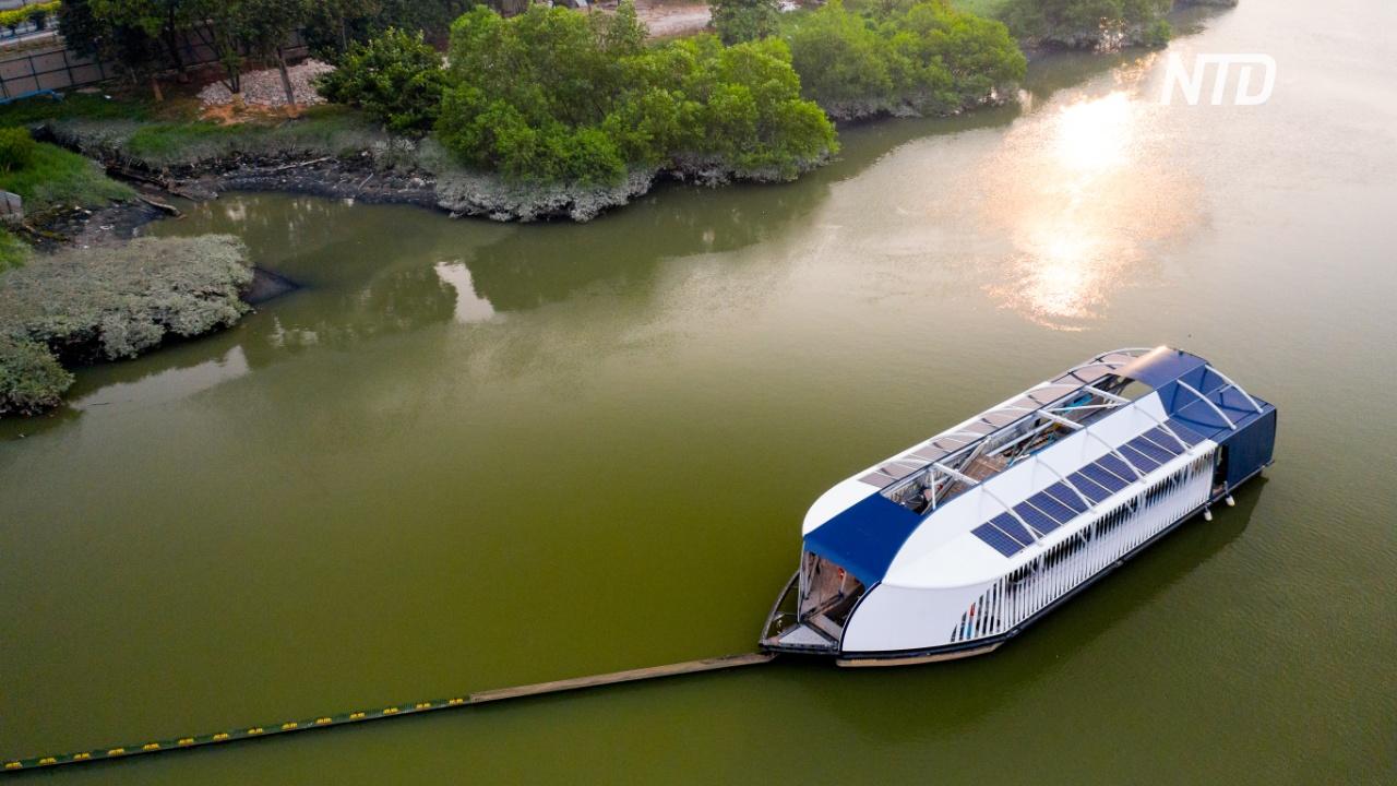 Нидерландец изобрёл машину для очистки рек от пластика