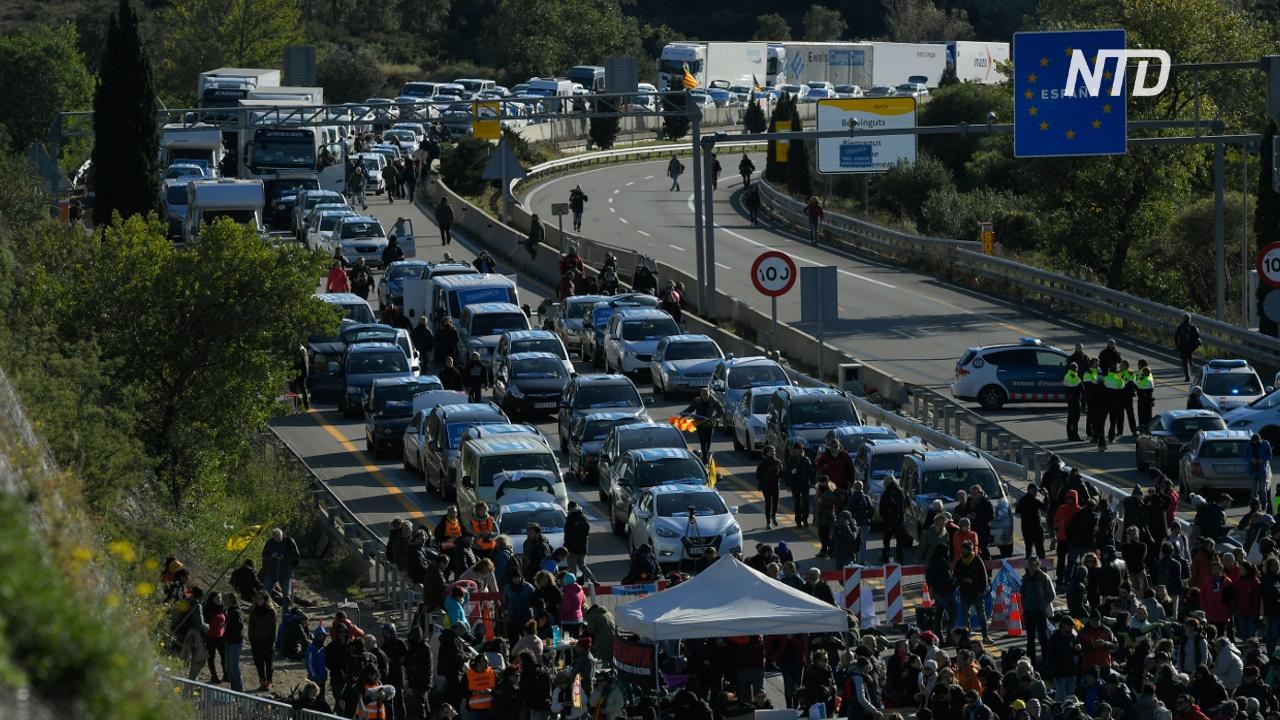 Каталонцы на три дня заблокировали шоссе на границе Испании и Франции