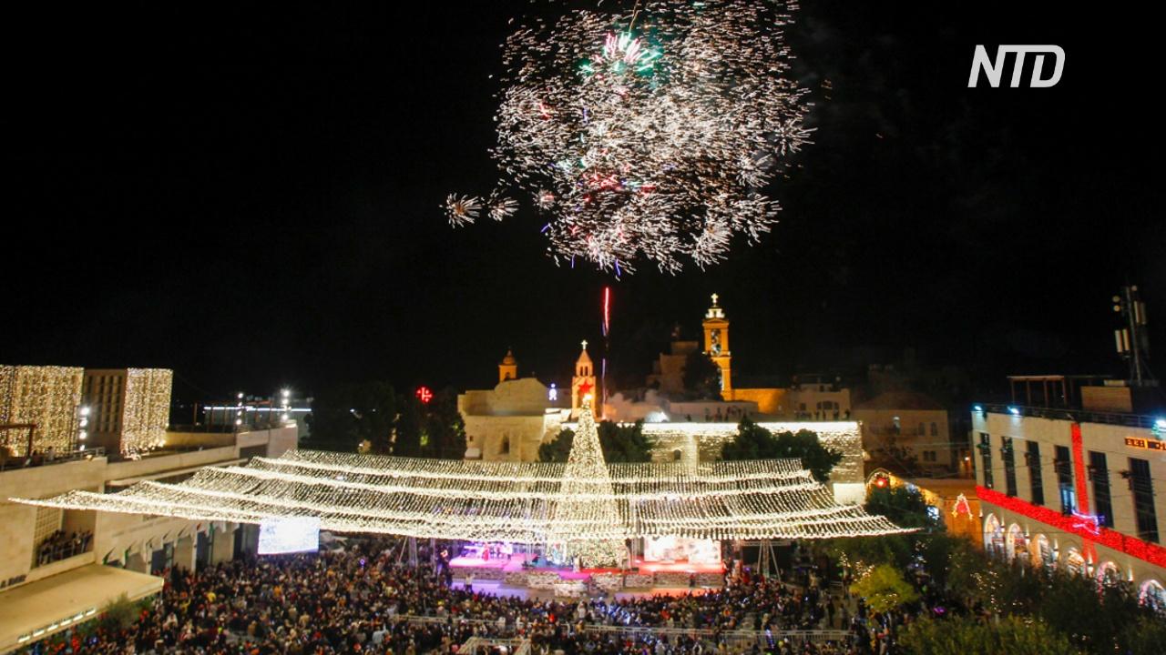 В Вифлееме зажгли сотни огней на рождественской ёлке