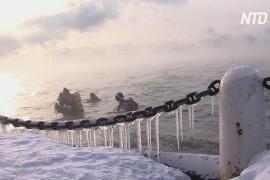 Дайверы посостязались в беге по дну Байкала в честь Нового года